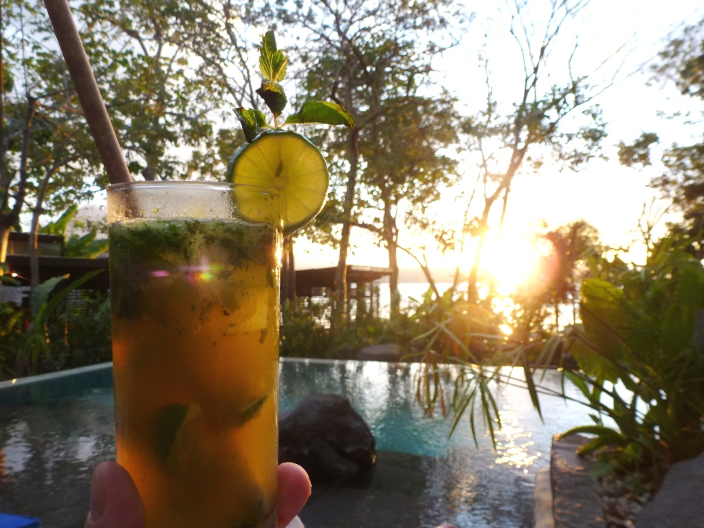 Drinking a Mojito made with Flor de Caña rum in Nicaragua