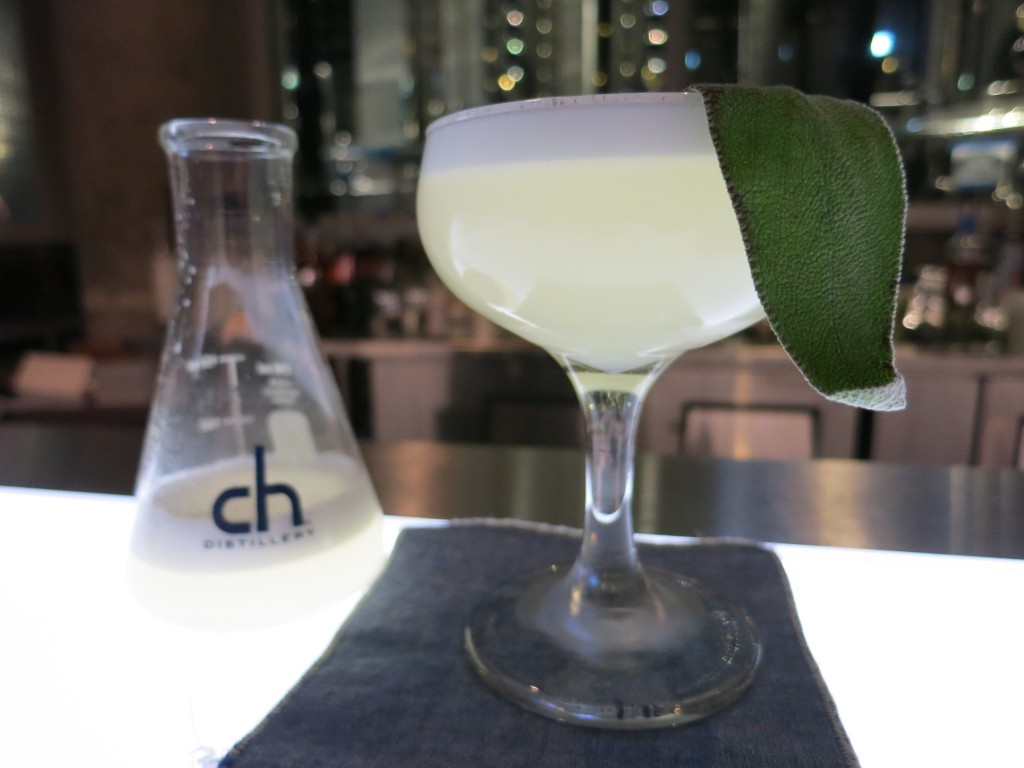 A fresh and herbaceous Savant Sour at Chicago's CH Distillery
