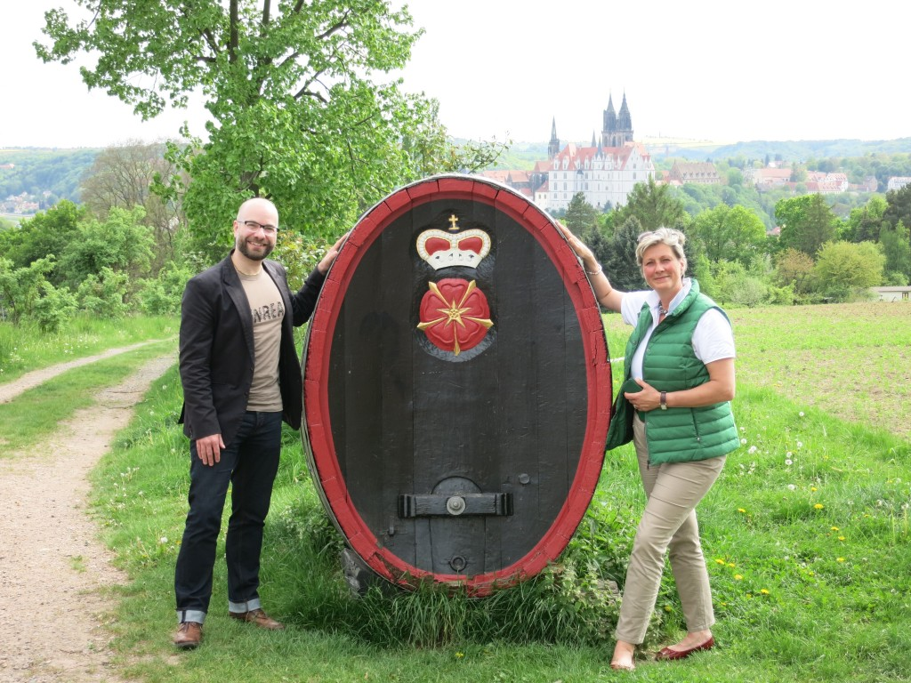 The author and Alexandra Prinzessin zur Lippe in the Schloss Proschwitz vineyards overlooking Meissen